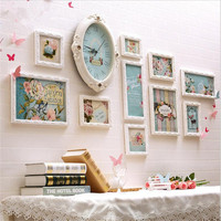 Romantic Wedding Photos Frames 10pcs Wooden Picture Frames Set with Clock Butterfly Floral Border Frames Decor marcos para fotos