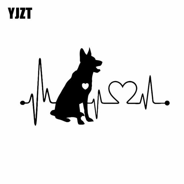 YJZT 18 CM * 9.5 CM allemand berger vinyle dessin animé Animal vinyle Pet pare-chocs voiture autocollant noir/argent C2-3312