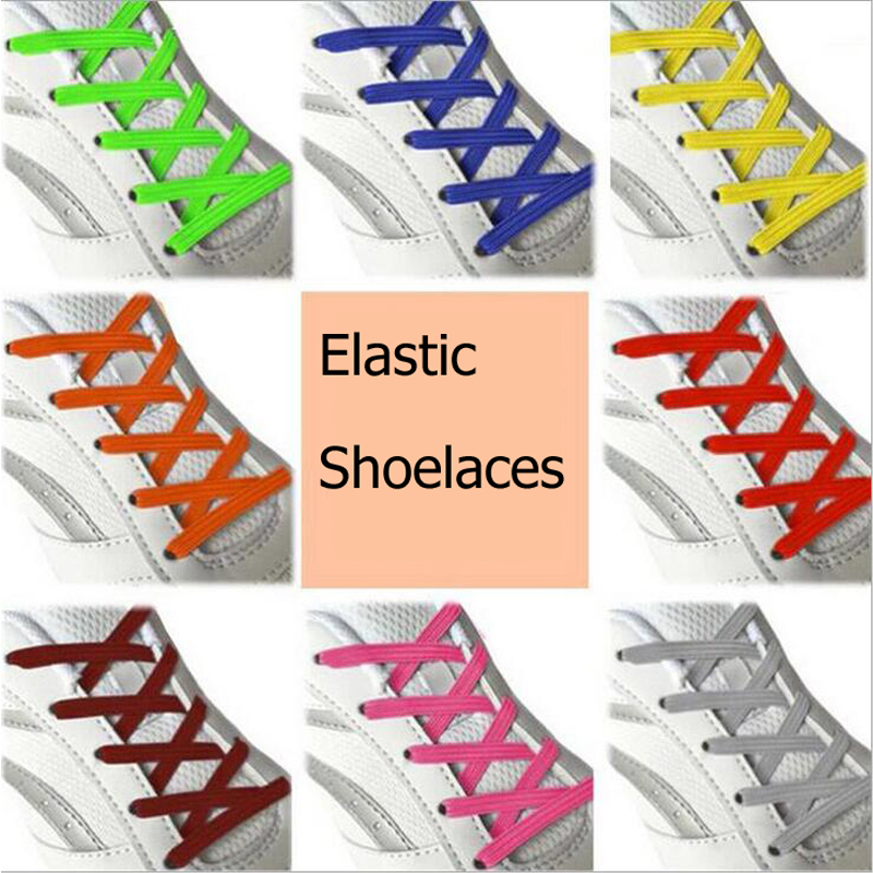 1pair 100CM Stretching Locking no tie lazy shoeLaces sneaker Elastic Rubber Shoe lace children safe elastic shoelace