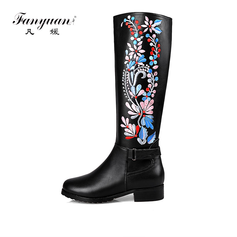 Fanyuan 2018 Handmade chinese embroidery shoe women knee high boots medium square heel genuine leather ethnic boots plus size 43