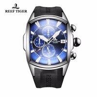 Риф Тигр/RT большой спортивные часы с Дата хронограф Водонепроницаемый часы Нержавеющаясталь синий циферблат Мужские часы RGA3069 T