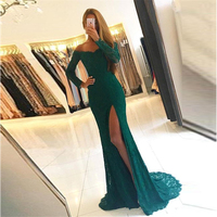 Fashion Dark Green Lace Long Lace Prom Gowns Vintage Long Sleeves Off Shoulders High Split Evening Gowns Women Dress Custom Made