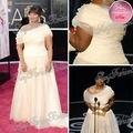 Oscar Red Carpet Dress Octavia Spencer um ombro uma linha até o chão com tule frisado Plus Size vestidos de celebridades