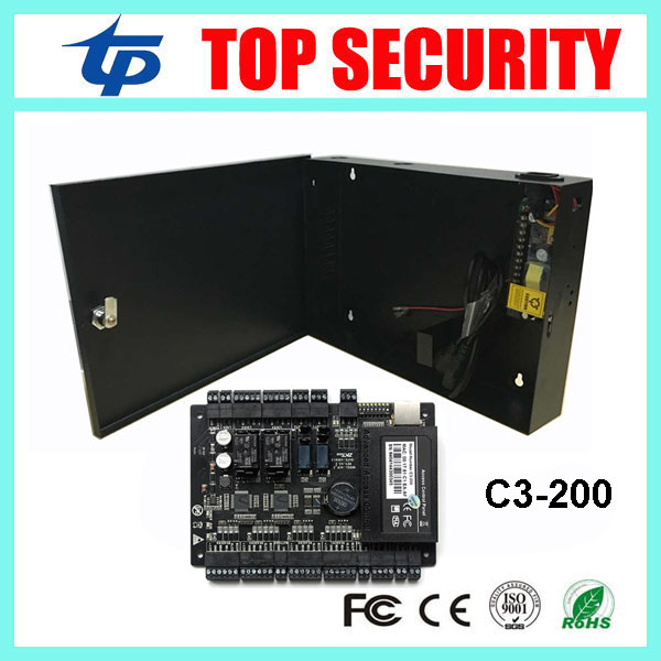 ZK C3-200 door access control system linux system 2 doors access control panel access control board with 12V5A power supply box