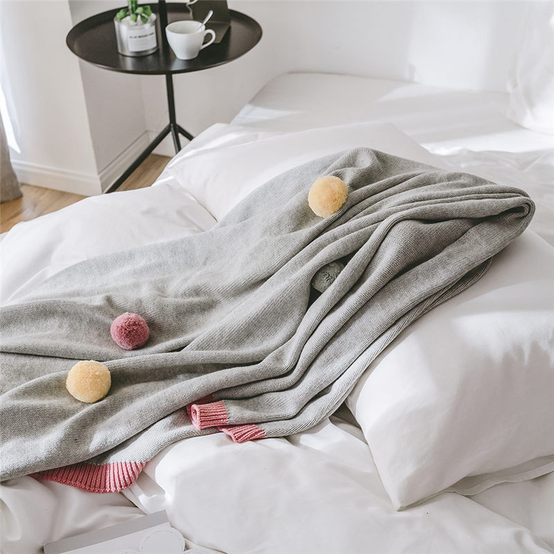 Couvertures de lit et jette géométrique microfibre housse solide couleur coton tricoté couverture décorative pour hiver adultes lits canapé