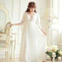Autumn Women's Long Nightgowns Beige Princess Lace Sleepwear Royal Vintage Roupas De Dormir Femininas Pyjamas Homewear 010