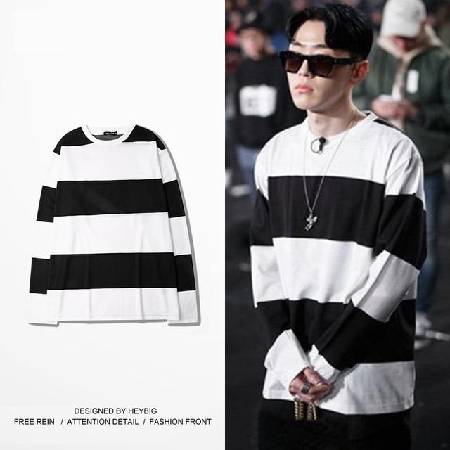 f05ba4a6af Listrado Longo-sleeved T-shirt Coreano moda Rap camiseta Casual Solto CAMISETA  heybig Maré
