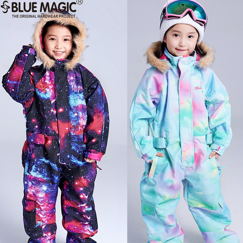 bluemagic snow ski suits toddler one piece for kids waterproof warm jumpsuit girls boys snowboard jacket overall -30degrees