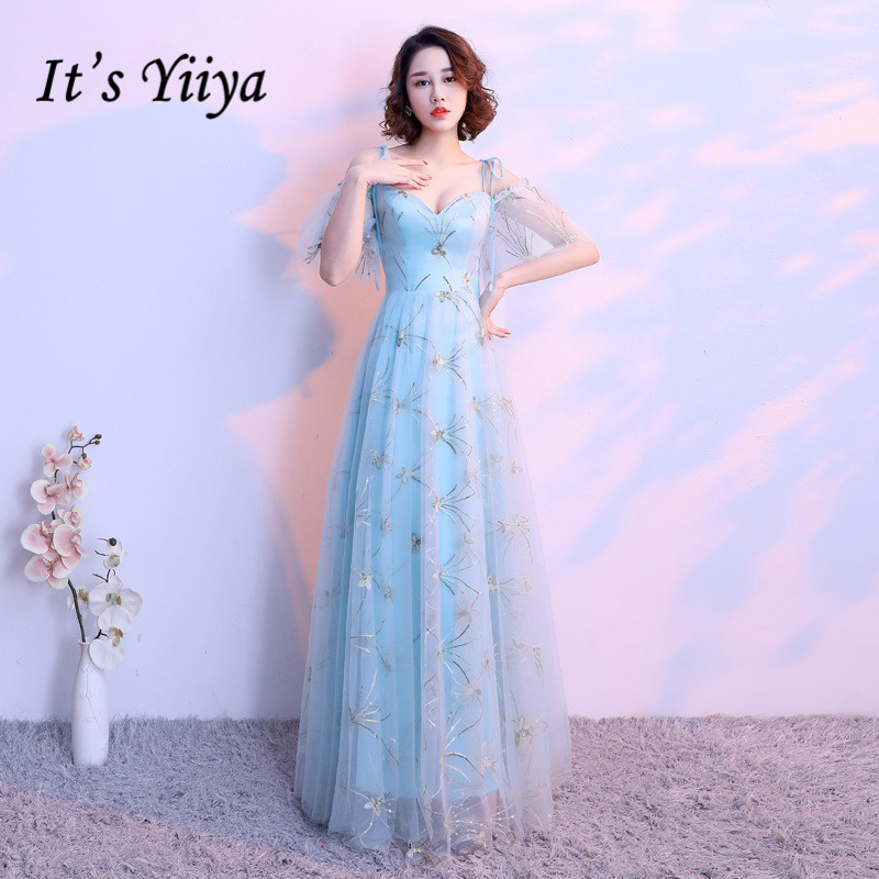It's YiiYa Sexy Spaghetti Strap Short Sleeve Bling Sequined Dinner Formal   Dresses   Backless Floor-Length   Evening     Dress   MX059
