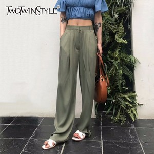 TWOTWNSTYLE Maxi Pants For Women High Waist Zipper Pocket Summer Big Large Size Long Trousers 2020 Fashion Elegant Clothing(China)