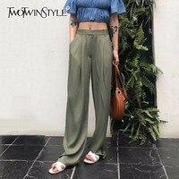 TWOTWNSTYLE Maxi Pants For Women High Waist Zipper Pocket Summer Big Large Size Long Trousers 2018 Fashion Elegant Clothing