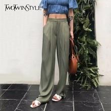 TWOTWNSTYLE Maxi Pants For Women High Waist Zipper Pocket Summer Big Large Size