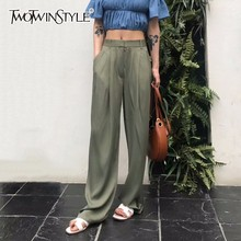 TWOTWNSTYLE Maxi pantolon kadınlar için yüksek bel fermuar cep yaz büyük büyük boy uzun pantolon 2020 moda zarif giyim