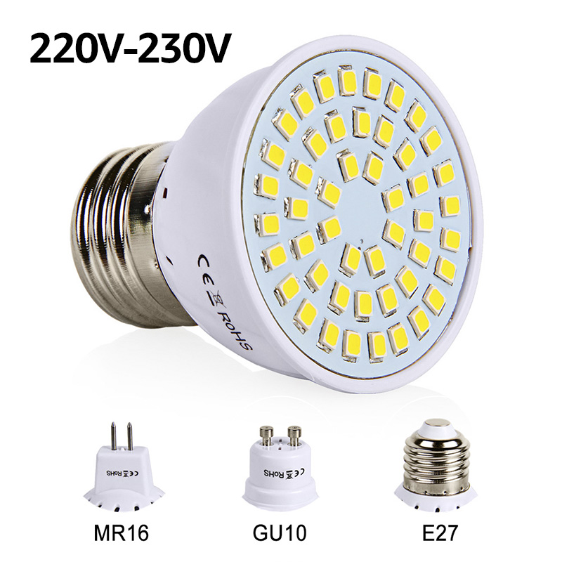 led bulb e27 gu10 mr16 led lamp smd 2835 220v 230v spotlight 48 60 80 leds white warm white for. Black Bedroom Furniture Sets. Home Design Ideas