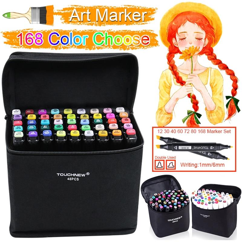 Touchfive 168 Colors Pen Marker Set Dual Head Sketch Markers Pen For Standard Landscape Draw Manga Animation Design Art Supplies