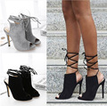 Envío gratis 2017 Primavera de Europa y América-atado Cruz sexy Slingbacks bombas de las mujeres de moda peep toe zapatos de tacón 12 cm