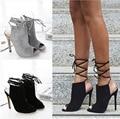 Free shipping 2017 Spring European and American Cross-tied sexy fashion Slingbacks pumps women peep toe shoes heel 12cm