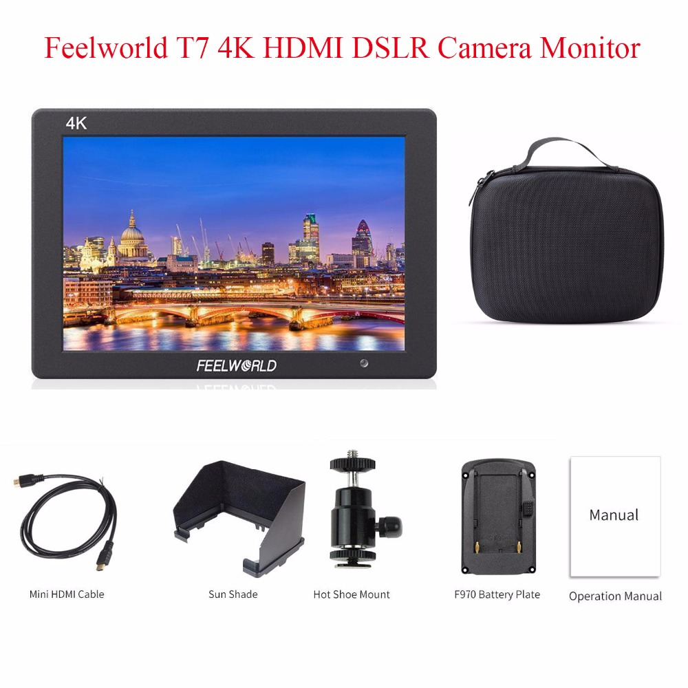 Feelworld T7 4K HDMI Input/Output LCD On-Camera Monitor,for Canon Nikon Sony DSLR Camera Video 7IPS 4K Camera Monitor 3 group