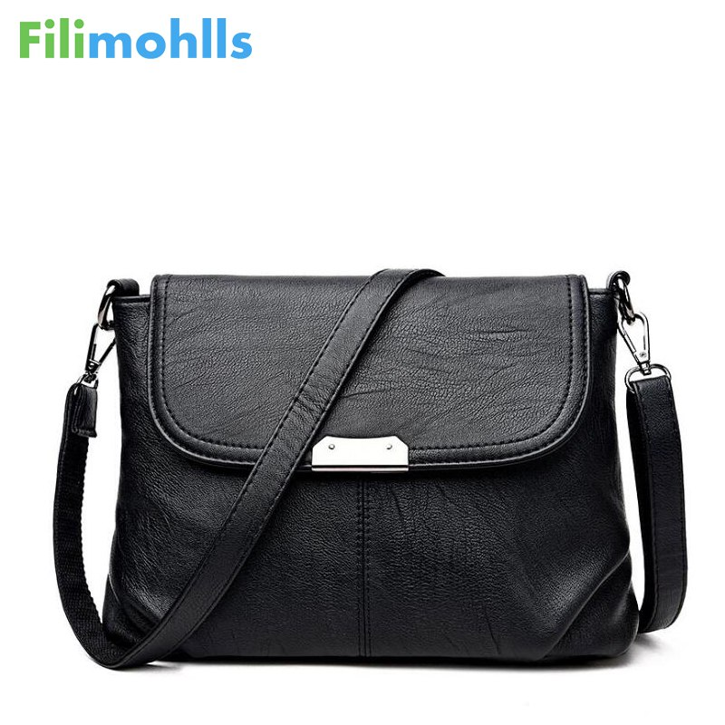 Woman crossbody bag Brand Women Messenger Bags Small High Quality Black Leather Shoulder Bag Sequined Soft Handbag S1182 2018 brand designer women messenger bags crossbody soft leather shoulder bag high quality fashion women bag luxury handbag l8 53