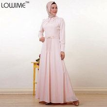 Light Pink Long Sleeve Muslim Evening Dress Fashion Hijab Long Dress with Beaded Pakistan Dress Turkish Dresses for Women