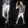 Moda masculina de calças rebite prata novo estilo Bar cantor ds líder dança figurinos