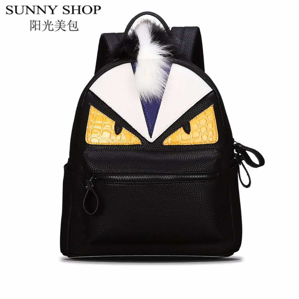 SUNNY SHOP Fashion feminine backpacks travel backpack women school bags for girls Monster leather backpack brand sac a dos