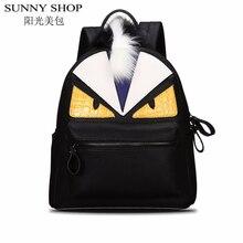 SUNNY SHOP Мода женский рюкзаки рюкзак женщины школьные сумки для девочек Монстр кожаный рюкзак марка sac dos