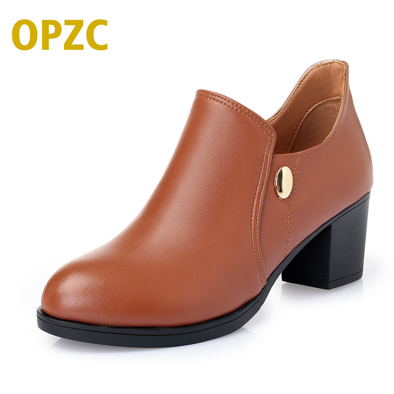 OPZC 2018 New Women Dress. Pumps Fashion Genuine leather women shoes. Square Heels Shoes Woman chaussure femme Pointed Toe Boots facndinll women pumps fashion middle heels pointed toe shoes woman square toe shoes ladies offcie dress casual date woman pumps