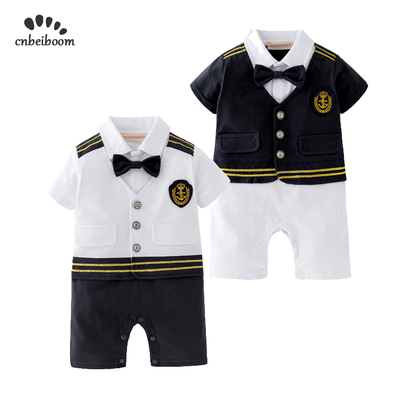 Baby Boy Clothes Short Sleeves Sailor Navy Captain   Romper   Halloween Cosplay Play suit Outfit Infant Jumpsuit Clothing Costume