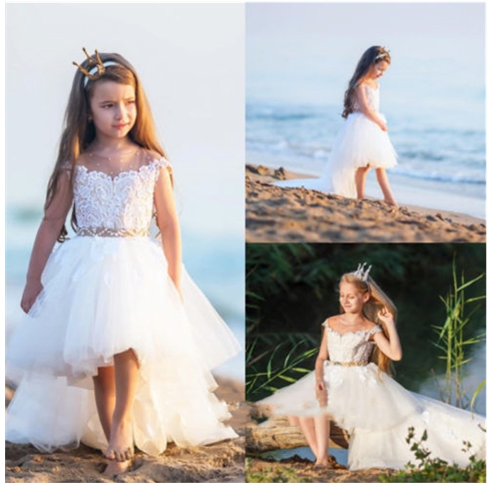 High Low Beaded Flower Girl Dress Cape Sleeve Lace princess dress for girls color block belted high low dress