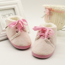 Autumn Winter Baby Non-slip Striped Shoes Winter Warm Boys G