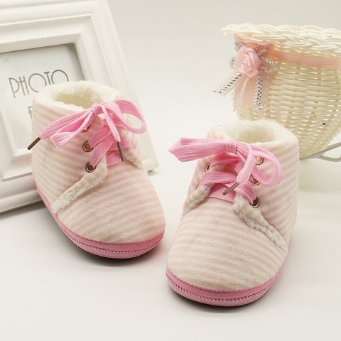 Autumn Winter Baby Non-slip Striped Shoes Winter Warm Boys Girls Lovely First Walkers Unisex Fashion Kids Shoes Pakistan