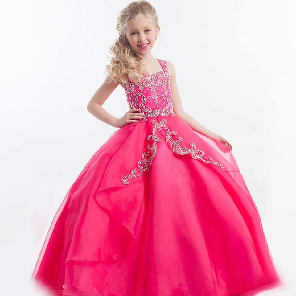 Gorgeous Prom Dress Children Square Neckline Sleeveless Ruffles Appliques Satin Beading Glitz Pageant Ball Gowns For Girls 2015 gorgeous lace beading sequins sleeveless flower girl dress champagne lace up keyhole back kids tulle pageant ball gowns for prom