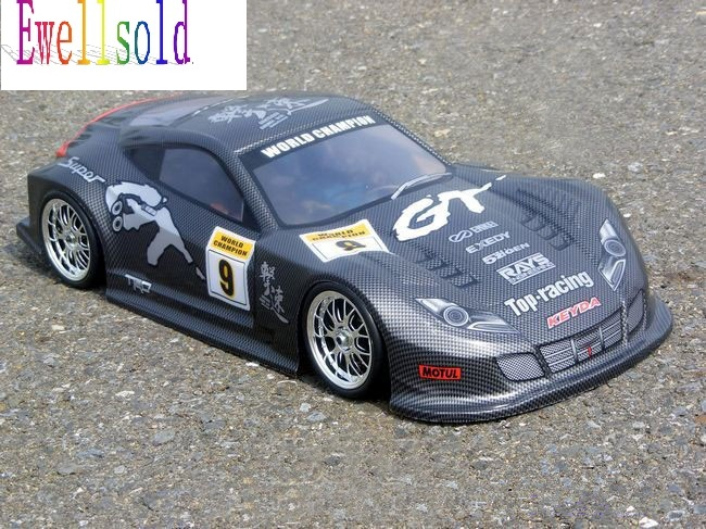 Ewellsold 1/10 remove control car RC car  PVC Body Shell 195mm NO:041 black free shipping