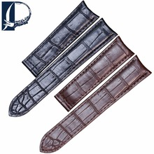 Pesno 20mm Black Brown Crocodile Leahter Watch Strap Men Watch Accessories with Deloyment Clasp Suitable for Cartier RONDE LOUIS