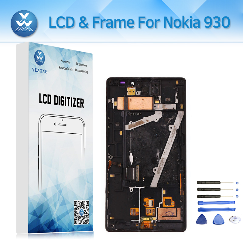 <font><b>AMOLED</b></font> For Nokia Lumia 930 Lcd Display Touch Screen Digitizer Assembly With Frame Bezel 5&#8243; Lcd Replacement <font><b>Phone</b></font> Parts Tools