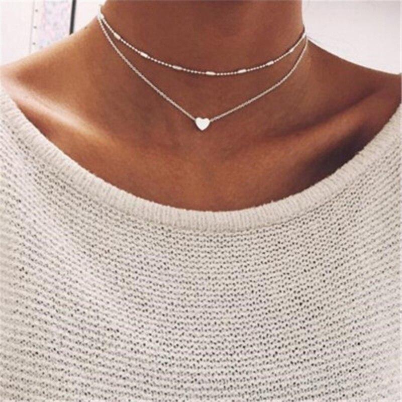 ZCHLGR prosta miłość serce Choker naszyjnik dla kobiet wielowarstwowe koraliki Choker kołnierz ras du cou collier femme komunikat biżuteria