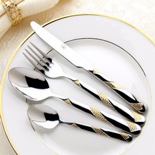 4 pcs/Hot Sale Dinner Set Cutlery Knives Forks Spoons Wester Kitchen Dinnerware Stainless Steel Home Party Tableware