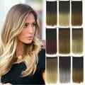 24 pulgadas 60 cm Resistencia Al Calor Natural Verdadero Gradiente de Color Del Arco Iris Ombre 5 Clips Hairpiece Clip Sintético en el Pelo pieza