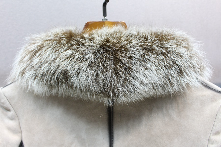 100% genuine sheepskin leather with fur coat slim with fox fur collar (5)