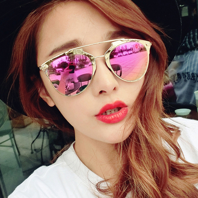 Classic Pink Mirror Sunglasses Women Fashion Reflective Brand Designer Women Or Men So Cat Eye Sun Glasses Gafas De Sol Style D