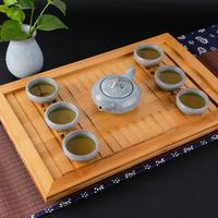 AIHOME Tea Trays Portble Chinese Gongfu Tea Bamboo Tea Tray Wooden Table Serving Tray Teaware Accessories