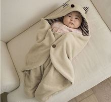 Recevant la couverture emmailloter coton couverture de bébé à capuchon nouveau-né enveloppe bébé literie 90*78 cm peignoir serviette