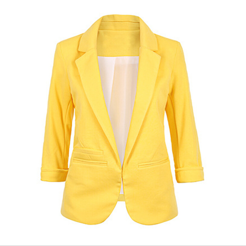Women Fashion Blazer Jackets Office Work Open Front Notched Blazers 2019 Autumn Slim Yellow Ladies Clothes Three Quarter Sleeve