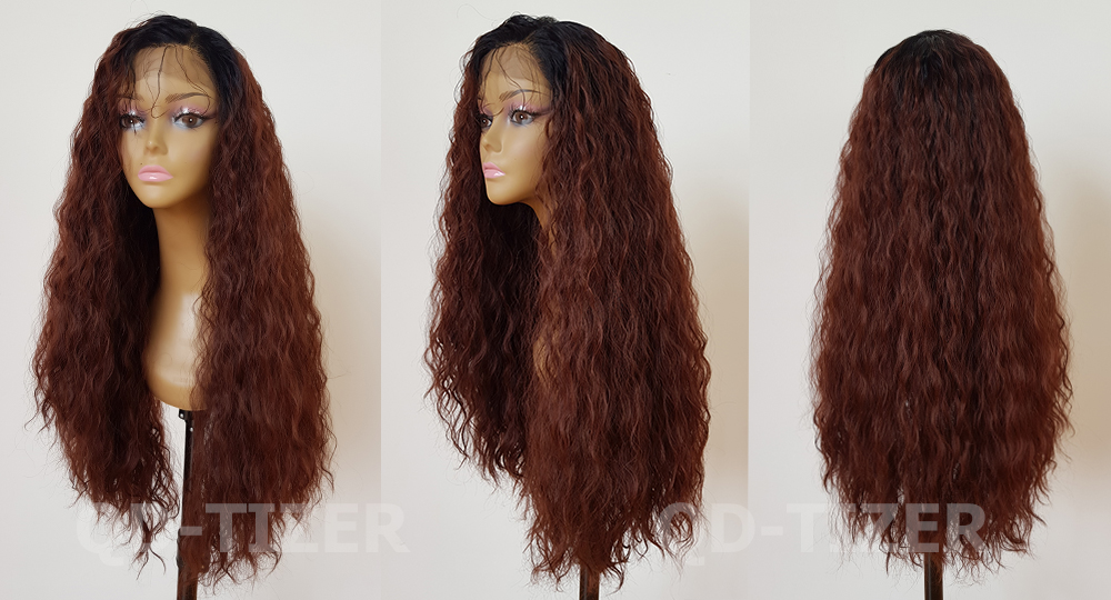 QD-Tizer Long Loose Curly Hair Two Tone Ombre Lace Front Wigs Glueless #33 Color Synthetic Lace Front Wig for Women5