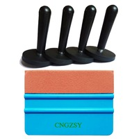 4pcs Magnet Holders Suede Squeegee Car Sticker 3D Carbon Fiber Vinyl Wrapping Film Tool Body Window