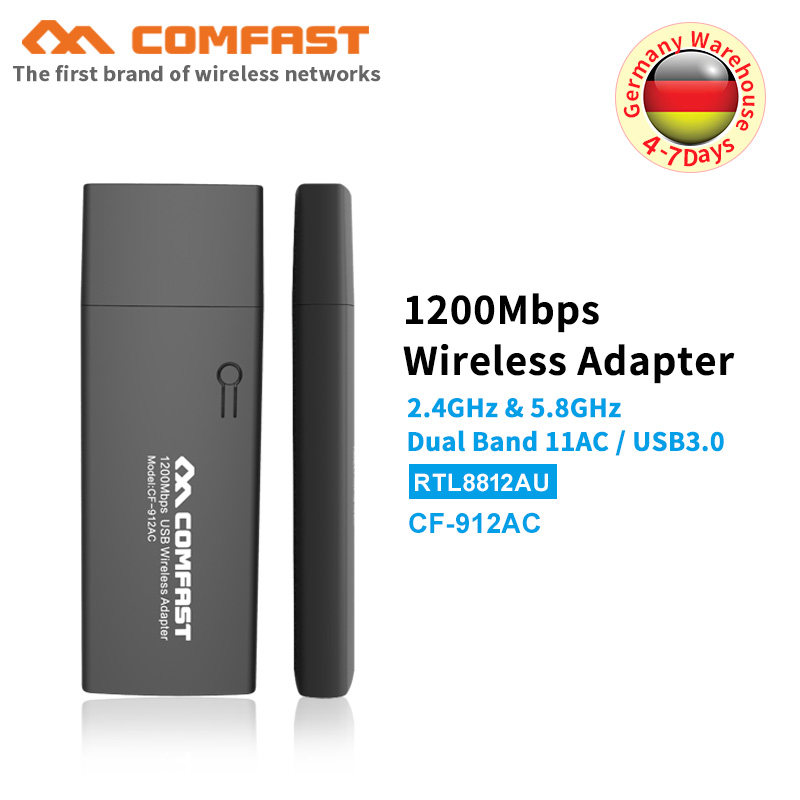 comfast 802 11AC 1200Mbps usb wi-fi adapter Dual Band 2 4Ghz/5Ghz USB  Wireless/WiFi AC Adapter with WPS button wifi dongle