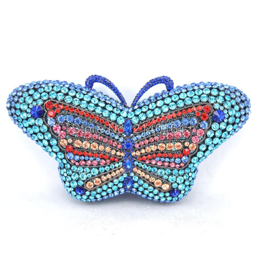 Lake Blue Women's Clutches Chain Evening Bags Butterfly Design Rhinestone Bridal Purse luxury mini handbag Wedding Prom bag Q75