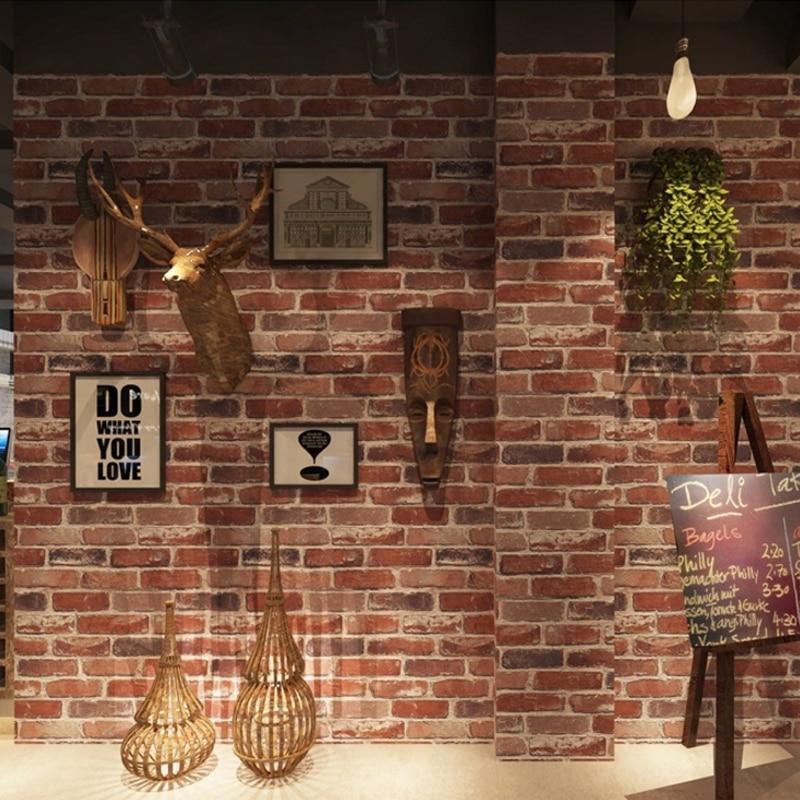Rústico Vintage 3D Tijolos Falso Papel De Parede Rolo de Papel de Parede PVC Vinil papel de parede Retro Loft Industrial Vermelho Cinza Marrom À Prova D' Água Lavável