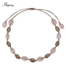 HIYONG Fashion Gold Sea Shell Necklace Choker Bohemian Hawaiian Beach Conch Adjustable Jewelry For Women Gift